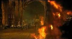 The Fellowship flees the Balrog; Gandalf throws down.